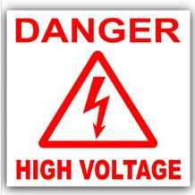 1 x Danger High Voltage Stickers-Red on White-Health and Safety-Self Adhesive Vinyl Electrical Electrician Signs